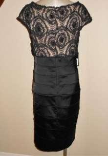 NWT Tadashi Shoji Black Satin & Ribbon Lace Bead Bodice Cocktail Dress