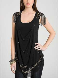 GUESS BLACK KRUPA TOP BEADED SEQUINED SILK LAYERED SHIRT BLOUSE