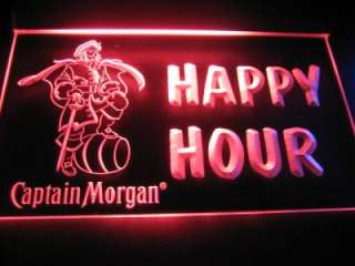 Happy Hour Captain Morgan Beer Bar Light Sign Neon B505