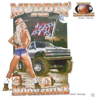 MUDDIN IN THE MOONSHINE, Dixie, New Lt. Gray T shirt