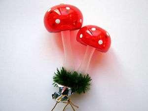 MUSHROOM RED PILZ GERMAN BLOWN GLASS CHRISTMAS ORNAMENT