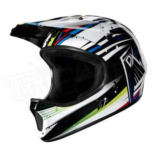 Rampage DH MTB Full Face Bicycle Helmet   White / Blue   Small