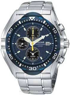 Pulsar Tech Gear Alarm Chronograph Blue Dial Mens Watch PF3647