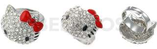 Hello Kitty Swarovski Crystal Adjustable Ring RED BOW