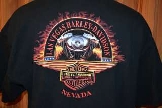 HARLEY DAVIDSON LV LAS VEGAS NEVADA HD MOTORCYCLE BLACK T SHIRT MENS