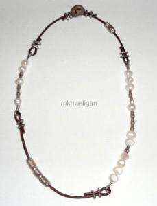 Silver Freshwater Pearl Leather Necklace N1063 Boxed Free Ship