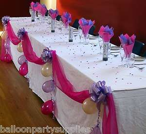 Top Table DIY Decoration Kit Organza Fabric Swags Pull Bows & Balloons