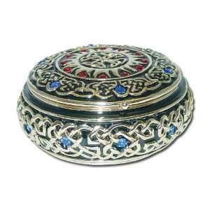 Round Celtic Jewelry Box Enameled pewter box bejeweled with Austrian