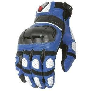Joe Rocket Supermoto Mens Leather Motorcycle Gloves Blue/White/Black