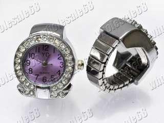 Fashion Jewelry 10pcs stainless steel rhinestone watch charms rings