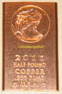 oz   1/2LB Copper Bullion Bar  Choose fron 11 Designs