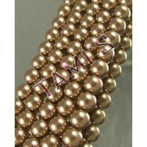 50 SWAROVSKI Crystal Faux PEARLS BRONZE 8mm Arts, Crafts & Sewing