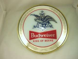 Vintage Budweiser Beer Fish Eye Lens Shaped Mirror Glass Sign