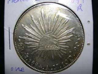 1894 MEXICO ONE PESO Mo. silver coin 38mm VF+ UNC