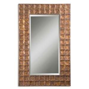 Mirror Hammered Metal Finished In Gold w/Brown Glaze