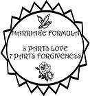 Love & Marriage Formula Slogan Vinyl Decal Sticker Car RV Truck Window