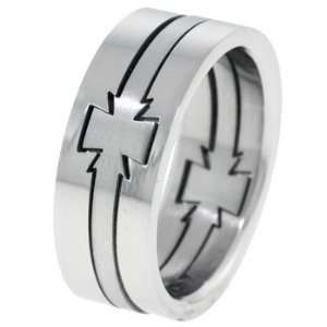 Maltese Cross Mens Stainless Steel Puzzle Ring   Size 12