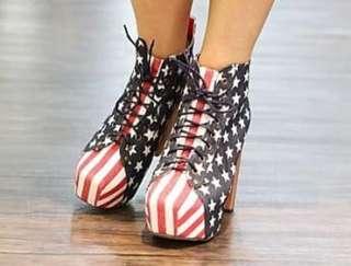 Hot New USA Star USA Flag Platform High Heels Ankle Boots Shoes