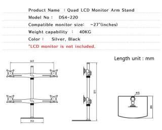 Quad LCD LED Monitor Mounts Arm Stand Bracket Mount 15 17 19 22 23 24