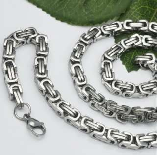 Stainless Steel Polish Byzantine Chain Necklace 8mm 25