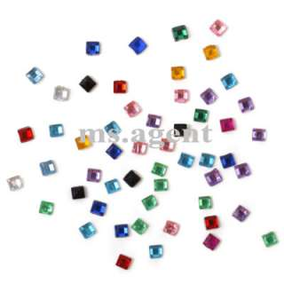 12 colors square shaped nail art rhinestones 2.0mm C332