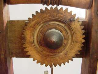 Antique Wooden Wool Spinning Wheel Spinners Weasel Clock Reel