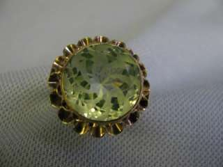 yellow gold ladys Huge Single Green stone Spinel ring size 8