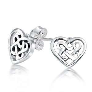 Sweetheart Celtic Knot .925 Sterling Silver Open Heart Stud Earrings