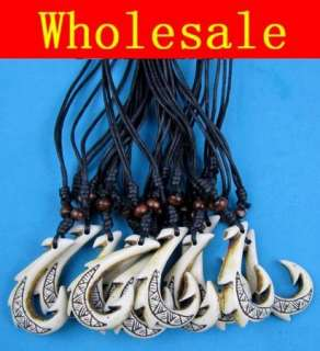 12pcs faux Yak bone carved Maori Hei Maau Fish Hook pendan Necklace