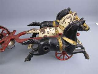 Antique Cast Iron Triple Horse Drawn Fire Pumper Wagon