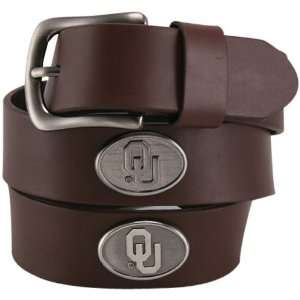 Oklahoma Sooners Brown Leather Concho Belt  Sports