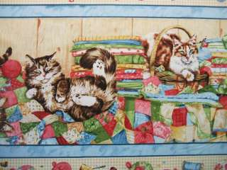 Purrfection Kitty Cat Stripe South Seas Fabric 745181257255