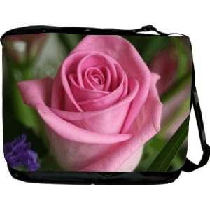 Rikki KnightTM Pink Rose Design Messenger Bag   Book Bag