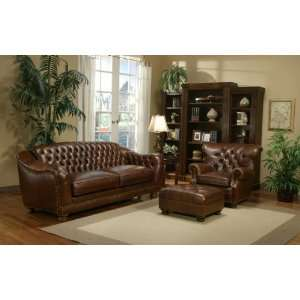 Kathy Ireland Manchester Tufted Leather Sofa Home & Kitchen
