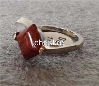 Stone Silver Ring Size 8 9 Square Cut USA Seller FREEshipping