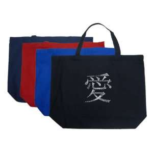 Large Royal Chinese Love Symbol Tote Bag   Made using the word LOVE