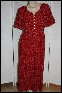 CHAUS ~ Long Red Floral Print DRESS Crinkle Skirt ~ 14