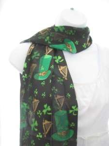 NEW SHAMROCK CLOVER SCARF ST PATRICK DAY IRISH BLACK GREEN PATRICKS