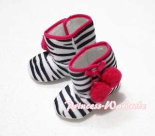 Zebra Printing with Various Cherry Newborn Baby Infant Crib Shoes Boot