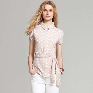 Tommy Hilfiger SHORT SLEEVED POLKA DOT BUTTON FRONT KNI
