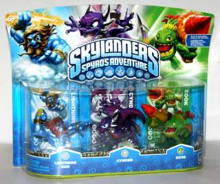 Skylanders LIGHTNING ROD CYNDER ZOOK 3 figure Pack MIB NEW IN HAND