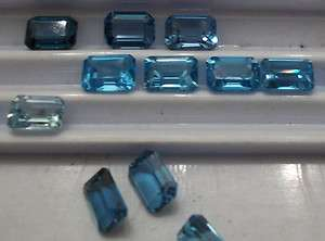 2pc lots 8x6mm faceted emerald cut BLUE TOPAZ London sky or aqua Pairs