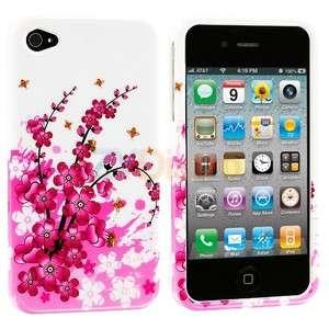 White Pink Flower Design Hard Skin Case Cover for Apple iPhone 4 4G 4S
