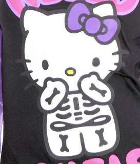 HELLO KITTY~ CUTIE BLACK PURPLE SKELETON RAGLAN SHIRT