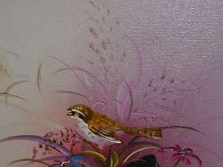 Lovely Little Oil Painting of Bird In Flowers