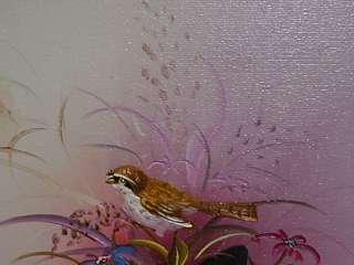Lovely Little Oil Painting of Bird In Flowers |