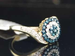 LADIES 0.50CT WHITE GOLD BLUE DIAMOND CIRCLE BAND RING