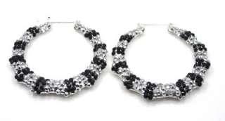rhinestone hallow bamboo door knocker silvertone hoop earrings silver