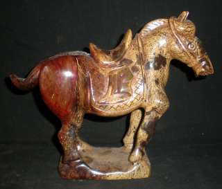 Chinese Nephrite Jade Carving Warrior Horse Statue