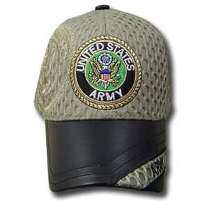 UNITED STATES ARMY SEAL SHIELD CAP STONE KHAKI HAT ADJ